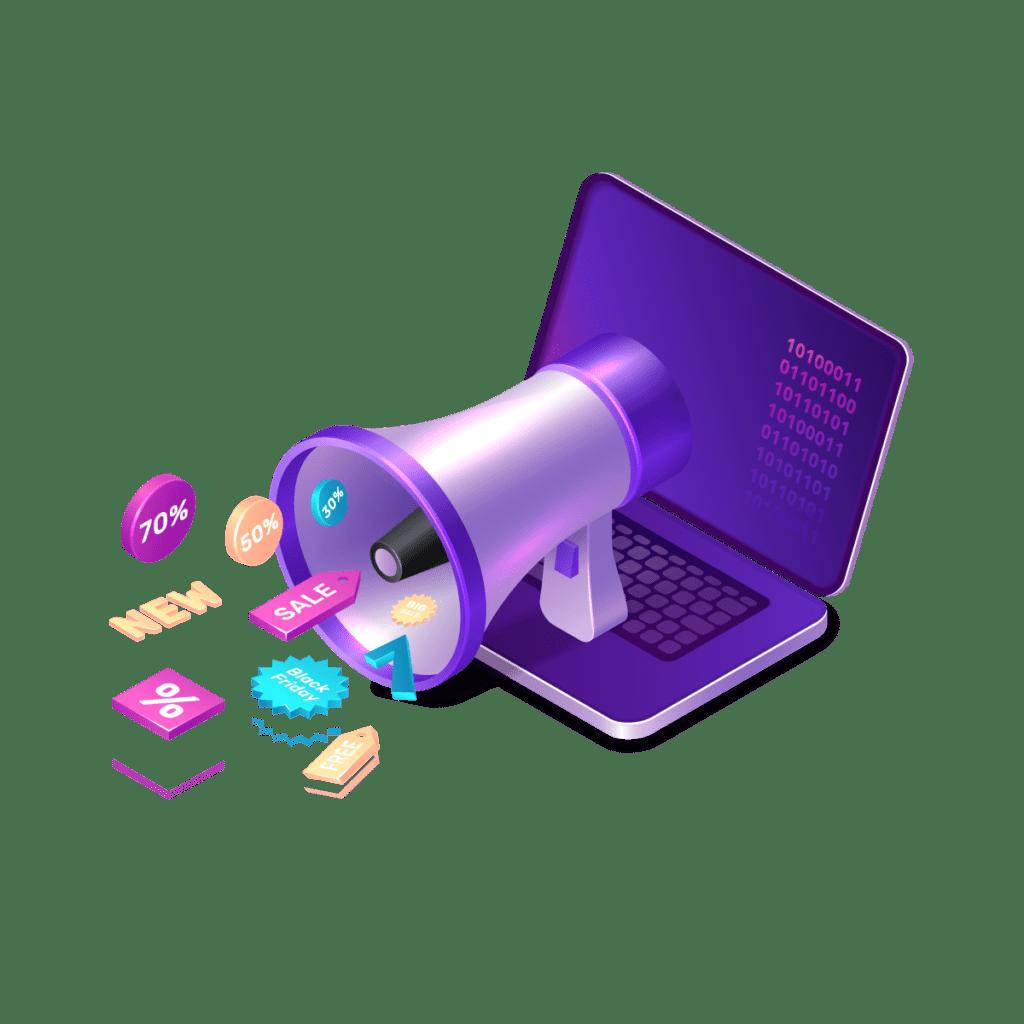 laptop device megaphone marketing